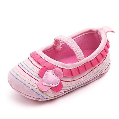 baratos Para Crianças de 0-9 Meses-Para Meninas Tecido Rasos Crianças (0-9m) Conforto / Primeiros Passos / Sapatos de Berço Apliques / Elástico Roxo / Rosa empoeirada / Branco Primavera Verão