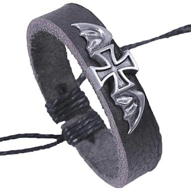voordelige Herensieraden-Heren Lederen armbanden Armband Kruis Rock Gothic Leder Armband sieraden Zwart Voor School Afspraakje