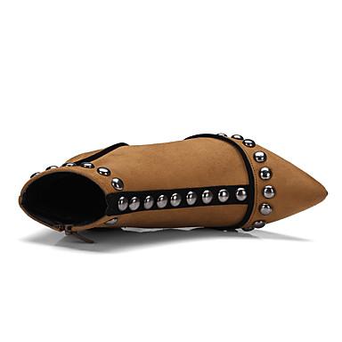 06439238 Nubuck Talon Rivet Bottine Confort Printemps Hiver Botte Chaussures Demi Nouveauté Aiguille Femme Noir Bout pointu Cuir Bottes qTBw8xE