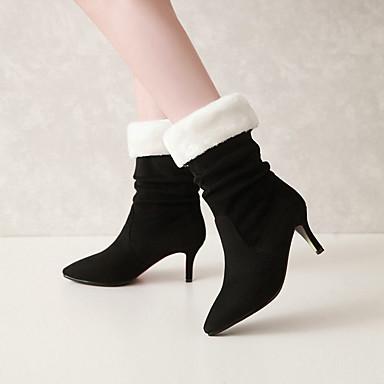 Mode Hiver Automne côté Bottes sur à Femme Mi Talon Nubuck Bottes 06425251 Noir Chaussures Cuir la Bottes Aiguille le mollet Bout pointu Drapée ptRwqIfxq8