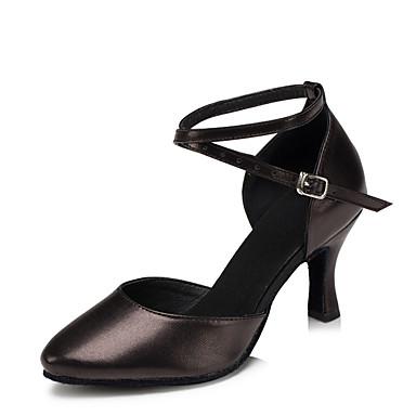 baratos Shall We® Sapatos de Dança-Mulheres Pele Sapatos de Dança Moderna Salto Salto Personalizado Personalizável Preto / Prata / Vermelho / Interior / EU41
