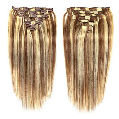voordelige Extensions van echt haar-Febay Clip-in Extensions van echt haar Recht Echt haar Medium Brown / Bleach Blonde