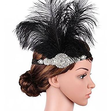Kultahattu Flapper-panta 1920-luku / Roaring 20s Naisten Musta Tekojalokivi / Sulka Party Prom Cosplay-tarvikkeet Masquerade Puvut