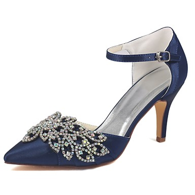 cheap Wedding Shoes-Women's Shoes Stretch Satin Spring / Summer Basic Pump Wedding Shoes Stiletto Heel Pointed Toe Crystal Dark Blue / Party & Evening