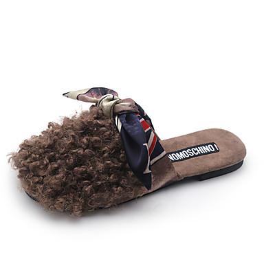 Mulheres Sapatos Couro Ecológico Courino Verão Conforto Sandálias Sem Salto Dedo Aberto Laço para Casual Ao ar livre Preto Verde Camel