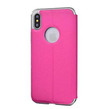 Para iPhone X iPhone 8 Capinha iPhone 5 Case Tampa com Visor Corpo Inteiro Capinha Côr Sólida Rígida Couro Ecológico para iPhone X iPhone