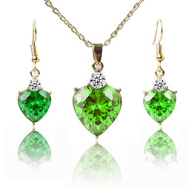 בגדי ריקוד נשים סט תכשיטים - ציפוי זהב קלסי, אופנתי לִכלוֹל שרשראות תליון ירוק עבור מתנה / יומי