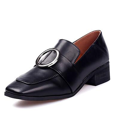 בגדי ריקוד נשים נעליים מיקרופייבר PU סינתטי אביב / סתיו נוחות נעליים ללא שרוכים עקב עבה שחור / ירוק צבא