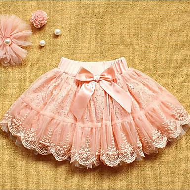 חצאית כותנה אביב קיץ יומי אחיד בנות חמוד ורוד מסמיק