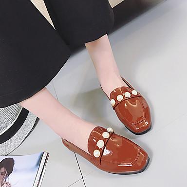 נעליים עור פטנט אביב נוחות נעליים ללא שרוכים שטוח בוהן עגולה פנינים שחור / חום / ירוק