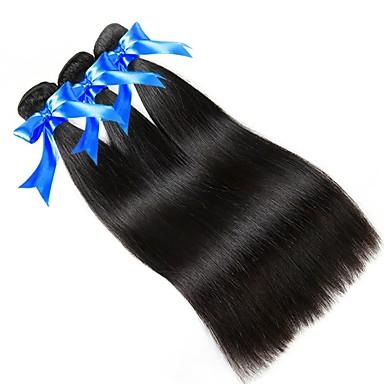 3 חבילות שיער ברזיאלי / שיער פרואני ישר שיער בתולי טווה שיער אדם 8-28 אִינְטשׁ צבע טבעי שוזרת שיער אנושי יָלוּד / Cute / מיני תוספות שיער אדם בגדי ריקוד נשים