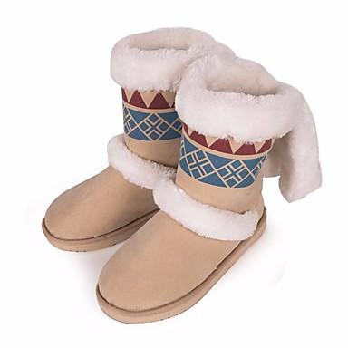 בגדי ריקוד נשים נעליים עור נובוק סתיו / חורף נוחות / מגפי שלג מגפיים שטוח מגפיים באורך אמצע - חצי שוק לבן