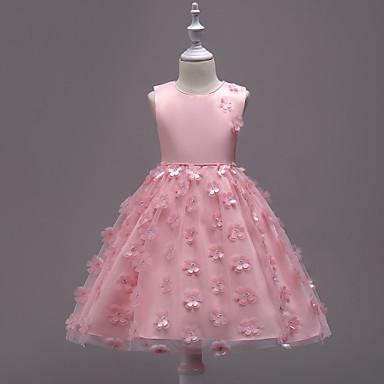 Kisgyermek Lány Születésnap   Alkalmi Egyszínű   Virág Ujjatlan Pamut    Poliészter Ruha Arcpír rózsaszín   Bájos   Hercegnő 857eb89a53