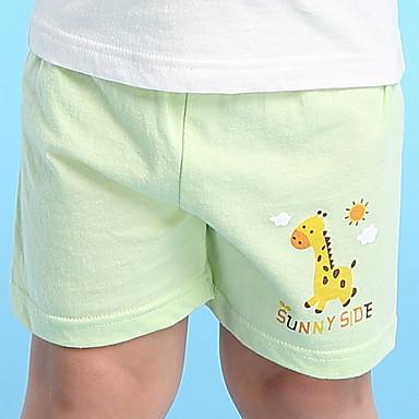 שורטים כותנה אביב קיץ אחיד הדפס חיות בנות בנים סרט מצוייר ורוד מסמיק ירוק בהיר פוקסיה כחול בהיר ירוק בהיר