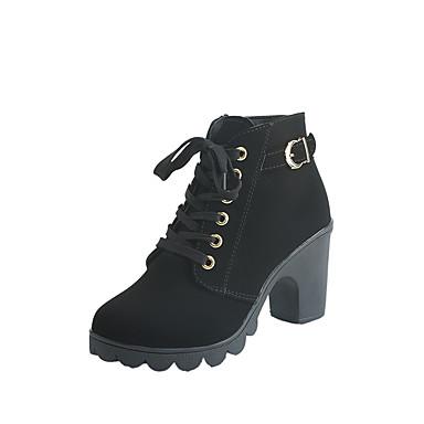 Damen Schuhe PU Winter Komfort Stiefel Schwarz / Braun / Grün