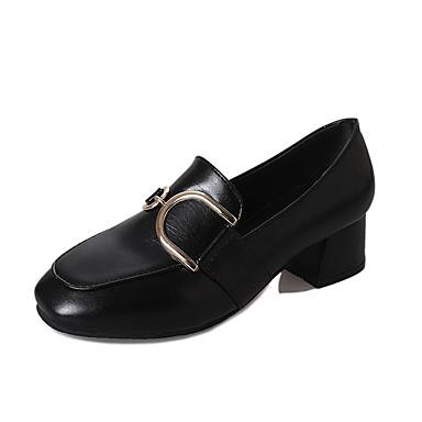 Mulheres Sapatos Courino / Couro Ecológico Verão Conforto Sandálias Salto Robusto Ponta quadrada Presilha Preto / Castanho Escuro