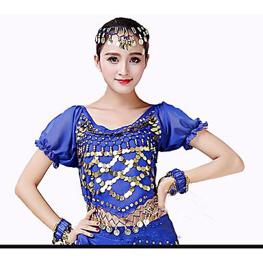 ריקוד בטן חולצות בגדי ריקוד נשים הצגה שיפון Paillette שרוולים קצרים גבוה עליון