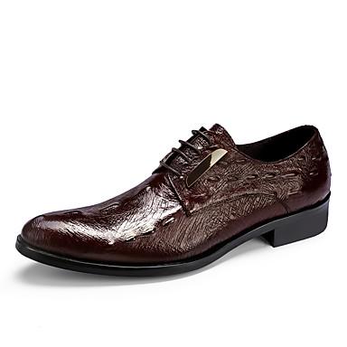 בגדי ריקוד גברים נעליים פורמליות עור אביב / סתיו נעלי אוקספורד שחור / בורדו / מסיבה וערב / לבש נעליים