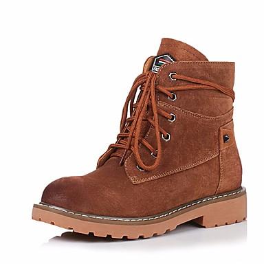 בגדי ריקוד נשים נעליים עור נאפה Leather / עור סתיו / חורף נוחות / מגפיי קרב מגפיים עקב עבה מגפונים\מגף קרסול חום