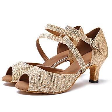 נעליים לטיניות טול סנדלים / עקבים שחבור / Paillette עקב מותאם מותאם אישית נעלי ריקוד זהב