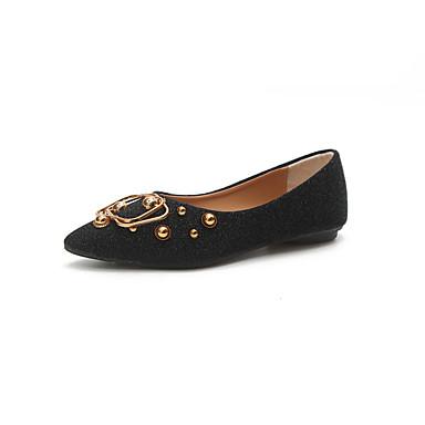 Női Cipő PU Nyár Kényelmes Lapos Lapos Erősített lábujj Csat mert Ruha Fekete / Ezüst / Barna