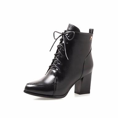 בגדי ריקוד נשים נעליים עור נאפה Leather / PU סתיו / חורף נוחות / מגפיי קרב מגפיים עקב עבה מגפונים\מגף קרסול שחור / ירוק צבא / Wine