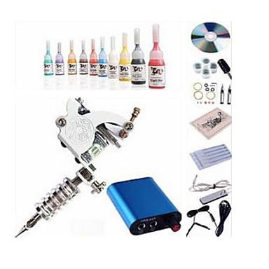Tattoo Machine Starter Kit 1 x čelika tetovaža stroj za obloge i sjenčanje Mini napajanje 1 x aluminijske ručke 10 kom Tattoo Igle