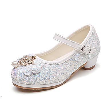 בנות נעליים PU אביב קיץ חדשני / נעליים לילדת הפרחים שטוחות פפיון / חרוזים / אבזם ל כסף / כחול / ורוד / חתונה / מסיבה וערב
