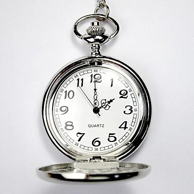 baratos Relógios Homem-Casal Relógio Esqueleto Relógio de Bolso Quartzo Prata Gravação Oca Relógio Casual Analógico senhoras Luxo Casual Caveira - Prata