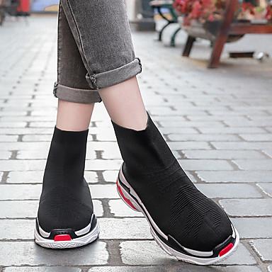 Demi 06531333 rond Femme Slogan Confort Noir Talon Chaussures Bottine Polyuréthane Bottes Bout Tulle Botte Automne Plat Printemps wCaxwf7q