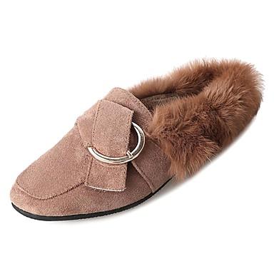 Mujer Slip Zapatos Zapatos de Invierno PU Caqui Dedo cuadrada Tacón Negro y Marrón taco Confort Pedrería 06487575 On bajo Bajo rrzqd