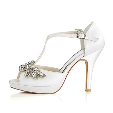 Talon Bout ouvert mariage Elastique Eté Mariage Femme de Chaussures Satin 06474724 Escarpin Aiguille Basique Cristal Ivoire Boucle Chaussures 8Pn7wnz