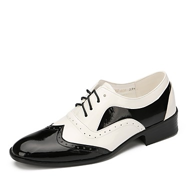 abordables Meilleures Ventes-Homme Chaussures de danse Cuir Verni Chaussures de Swing Plate Talon Plat Personnalisables Noir / Blanc / Utilisation / EU43