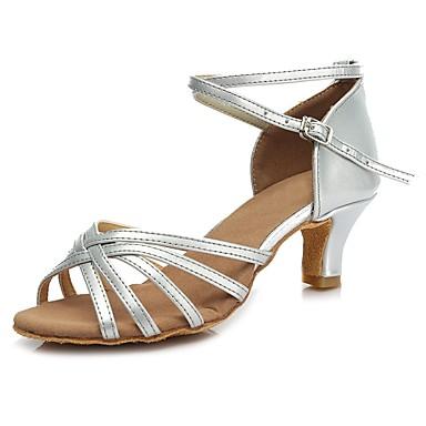 נעליים לטיניות דמוי עור עקבים רתן עקב קובני מותאם אישית נעלי ריקוד זהב / כסף