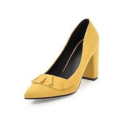 Mujer Zapatos Cuero de Napa Verano Confort Tacones Tacón Cuadrado Dedo Puntiagudo Marrón jDv4XiPOHc