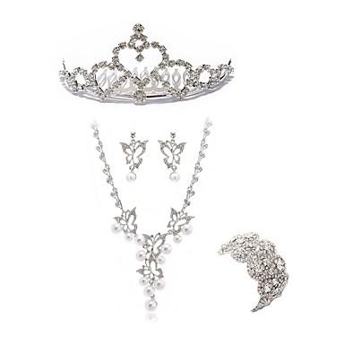 בגדי ריקוד נשים סט תכשיטים - יהלום מדומה פרפר ארופאי, אופנתי לִכלוֹל נזרים סטי תכשיטי כלה לבן עבור חתונה Party