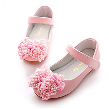 בנות נעליים PU אביב / סתיו חדשני / נעליים לילדת הפרחים שטוחות פפיון / ניטים / סקוטש ל לבן / ורוד / מסיבה וערב