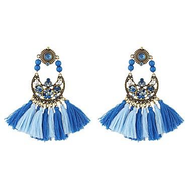 בגדי ריקוד נשים פרנזים עגילי טיפה - חיקוי טורמלין צִיצִית, בסיסי כחול עבור יומי פגישה (דייט)