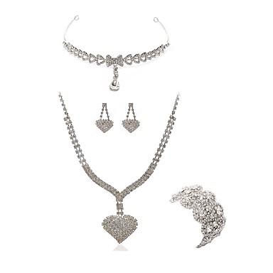 בגדי ריקוד נשים סט תכשיטים - יהלום מדומה לב ארופאי, אופנתי לִכלוֹל תכשיט מצח סטי תכשיטי כלה לבן עבור חתונה Party