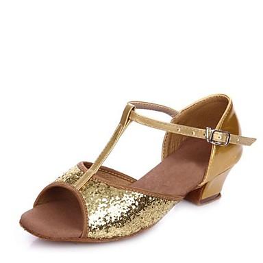 נעלי ריקוד לילדים Paillette סנדלים עקב נמוך מותאם אישית נעלי ריקוד זהב / כסף / בבית / עור