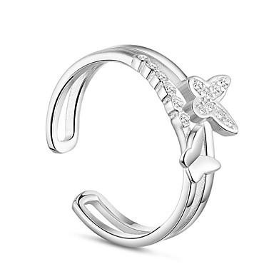 בגדי ריקוד נשים זירקונה מעוקבת קאף טבעת - סגסוגת פפיון בסיסי מתכוונן כסף עבור ארוסים יומי