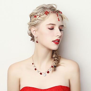 בגדי ריקוד נשים סט תכשיטים - פרח לִכלוֹל אדום עבור חתונה / מסיבת ערב