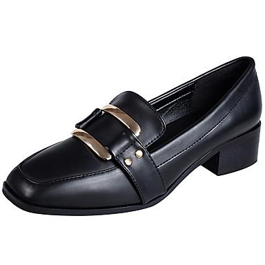 בגדי ריקוד נשים נעליים מיקרופייבר PU סינתטי אביב / קיץ נוחות עקבים עקב עבה בוהן מרובעת / בוהן סגורה אבזם שחור / בורדו