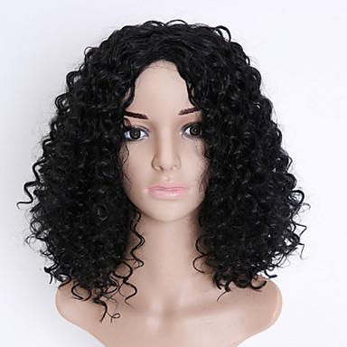 פאות סינתטיות מתולתל / Kinky Curly תספורת אסימטרית שיער סינטטי שיער טבעי / חלק אמצעי שחור פאה בגדי ריקוד נשים קצר / בינוני ללא מכסה