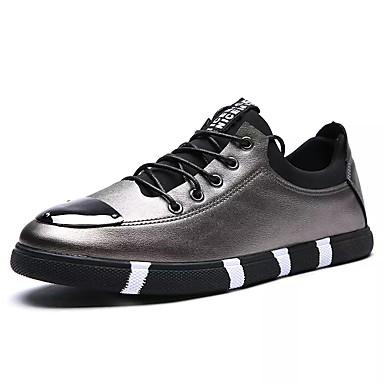 בגדי ריקוד גברים נעליים גומי אביב / סתיו נוחות נעלי ספורט לבן / שחור / כסף