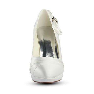 de Aiguille Bout Automne Chaussures Elastique Satin Ivoire Cristal Talon Basique Printemps 06474746 Chaussures mariage rond Escarpin Femme wP47W