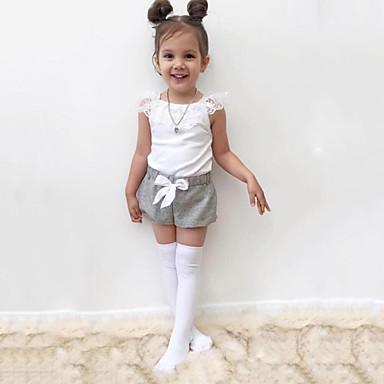 סט של בגדים כותנה כל העונות שרוולים קצרים יומי ספורט אחיד בנות יום יומי סגנון רחוב לבן