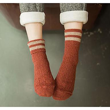 12 זוגות בגדי ריקוד נשים גרביים Standard פסים שמור על חום הגוף כותנה EU36-EU42
