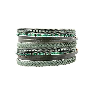 abordables Bracelet-Bracelets Plusieurs Tours Bracelets en cuir Bracelets de mémoire Femme Cuir dames Rétro Vintage Bohème Elégant Bracelet Bijoux Turquoise pour Quotidien Sortie