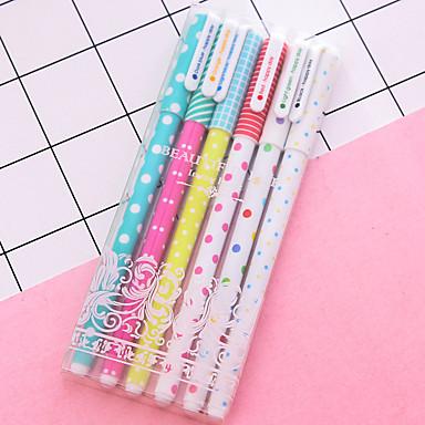 ג'ל עט עֵט עטי ג'ל עֵט, פלסטיק צבעים מרובים צבעי דיו עבור ציוד בית ספר ציוד משרדי חבילה של 6 pcs